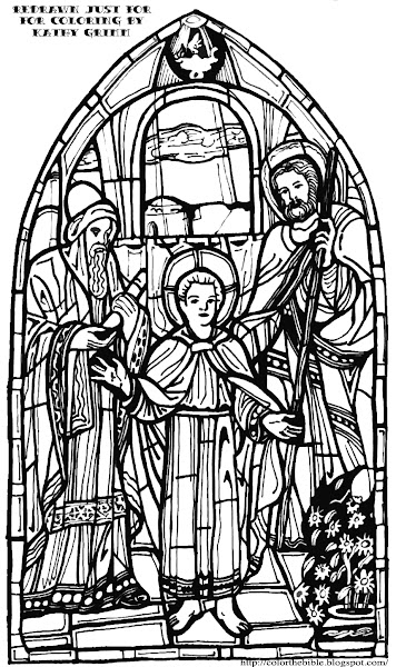 Christmas nativity stained glass coloring pages for Jesus teaching in the temple coloring page