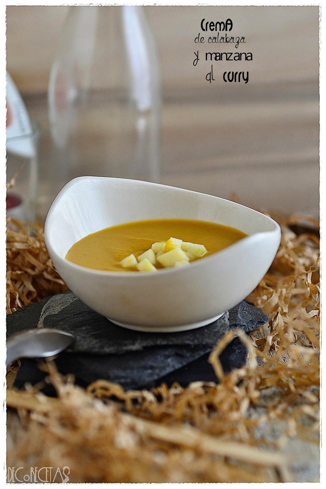 Crema de calabaza y manzana al curry
