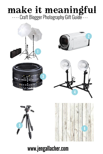 Craft Blogger Photography Gift Guide from www.jengallacher.com. Up your project and product photography game with a few important tools. Links to products are included in blog post. #photography