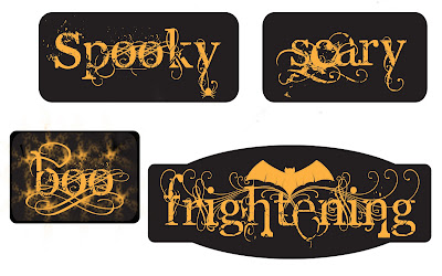 halloween scrapbook or craft titles in black and orange scary frightening boo and spooky