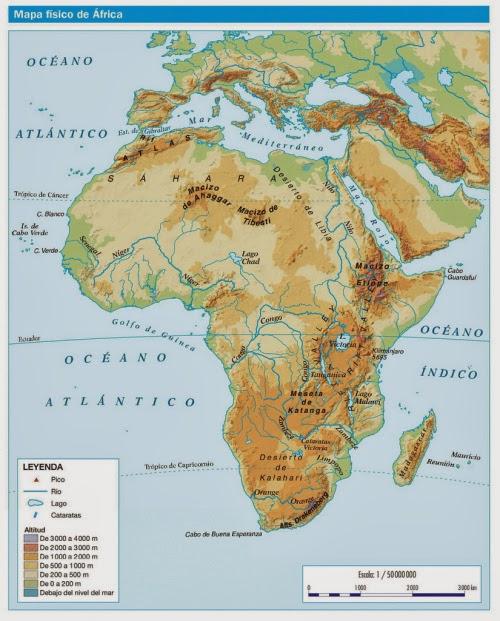 Mapa fsico de Africa  La lengua de las mariposas