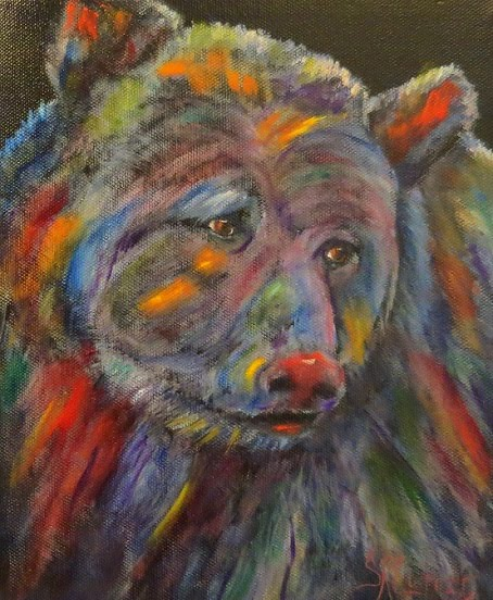 """Did Somebody Say Supper?"",  Grizzly bear in oils"