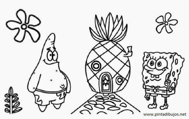 dibujos para colorear de la piña de bob esponja