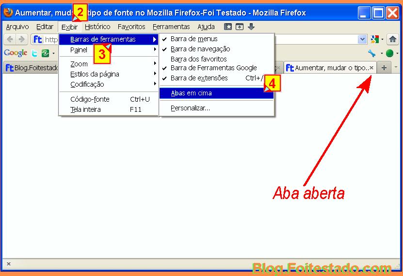 Abrir aba e mudar posição delas para abaixo ou acima da barra de endereços com mozilla firefox 4.1 e outra versão