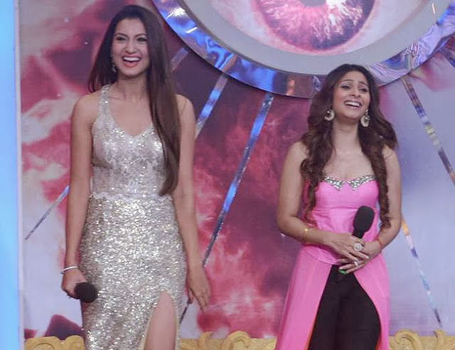 Bigg Boss grand finale finalists Gauhar khan and Tanisha Mukherjee