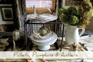 Pallet Wood, Pumpkin & Antlers