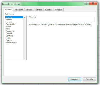 Formato de celdas en Excel 2007. Número