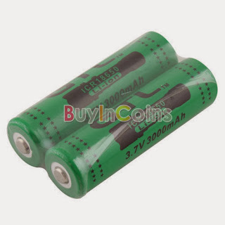 2x GTL ICR 18650 3.7V 3000mAh Li-ion Lithium Rechargeable Battery Green