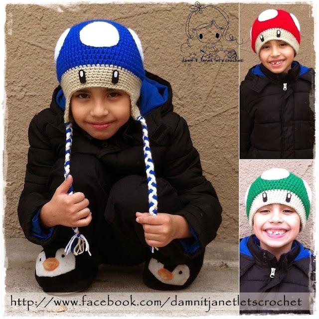 Free Crochet Pattern For Mario Hat : damn it Janet, lets crochet!: Mario Bros. Mushroom Beanie