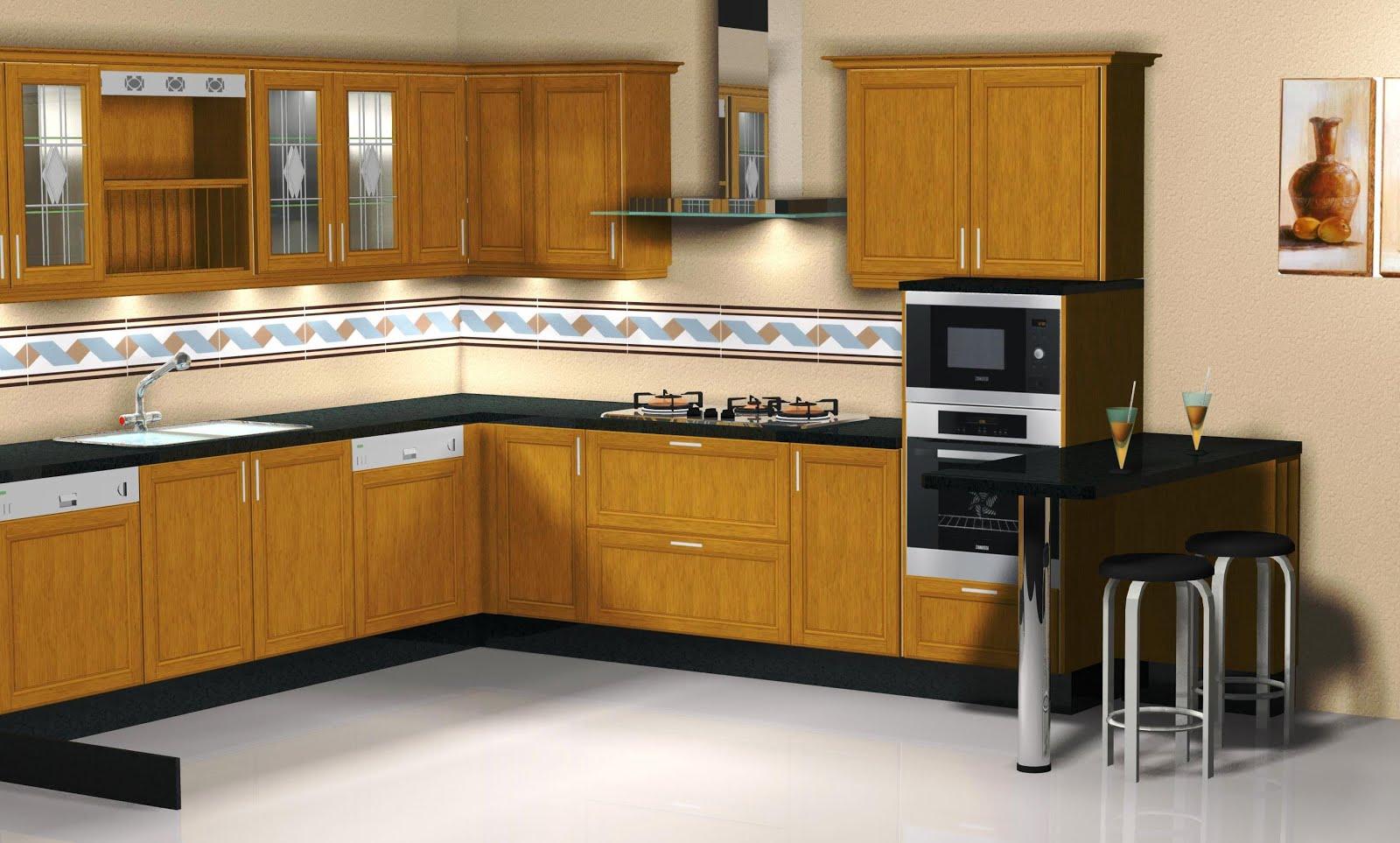 Otra vista de la cocina de roble