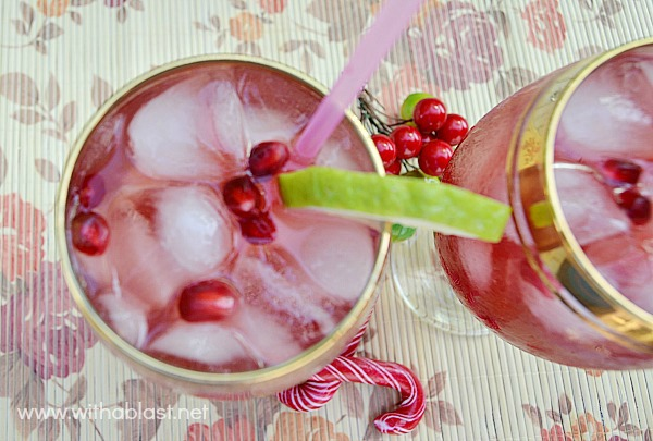 Christmas Cocktail ~ Delicious, refreshing Cocktail and it looks wonderfully festive #Cocktail #Christmas www.withablast.net