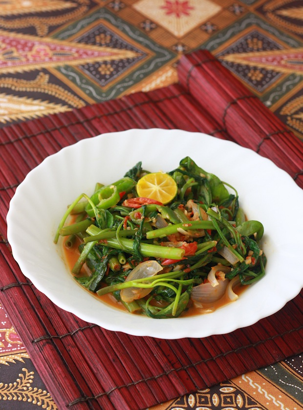 stir-fried kangkong with sambal belacan spice paste