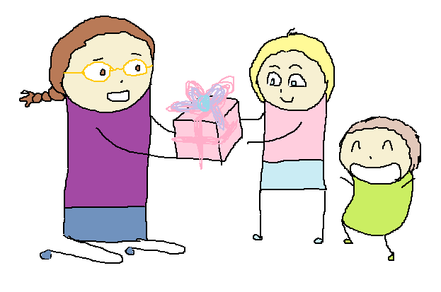 Me giving a present to my older niece, while my younger niece smiles and looks adorable.