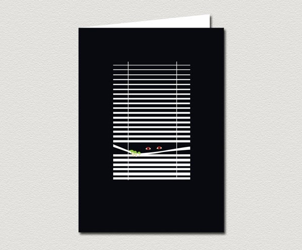 Monster Peering Through Window Blinds Greeting Card