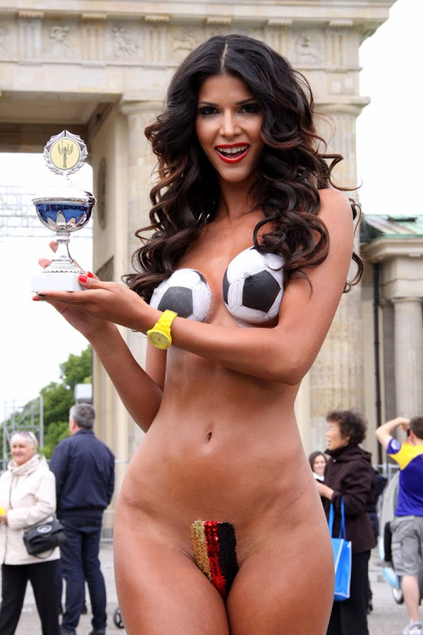 MICAELA SCHAEFER Supports Germany for Euro 2012 with little body paint covering her notty bits