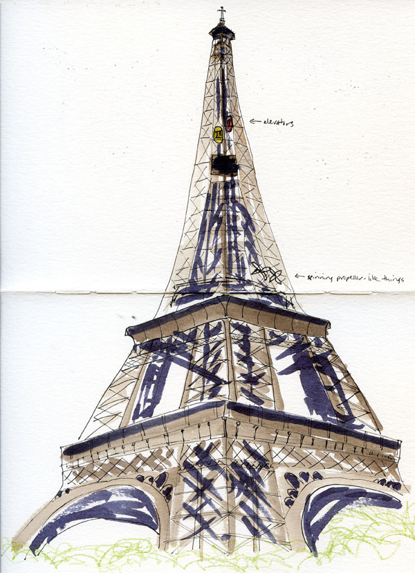 Eiffel Tower Pencil Sketch Fueled by Cloud...