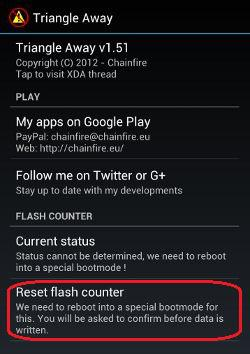 how to reset binary counter on android