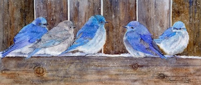 "Watercolor ""Blue Birds Fly"" by Lorraine Watry"