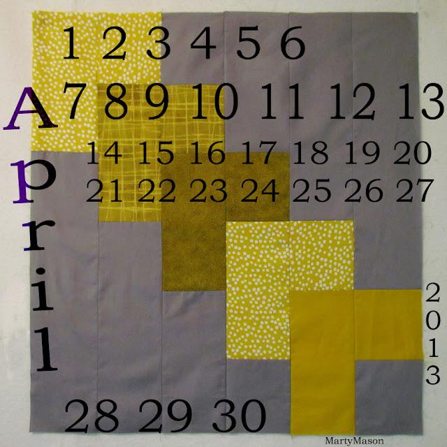 April, 2013, Quilter's Calendar