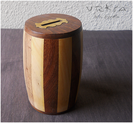 Vrksa Arts Crafts Coin Box Indian Wooden Craft
