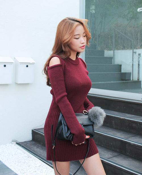 Slim Open Shoulder Knit Dress