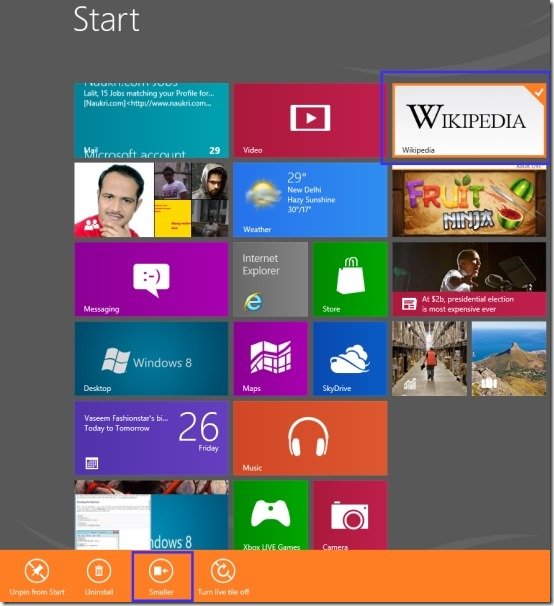 how to make screen smaller on windows 8