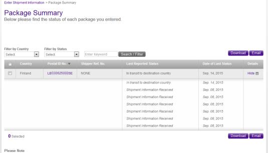 FedEx Airmail Premium Package Summary FedEx sivuilla