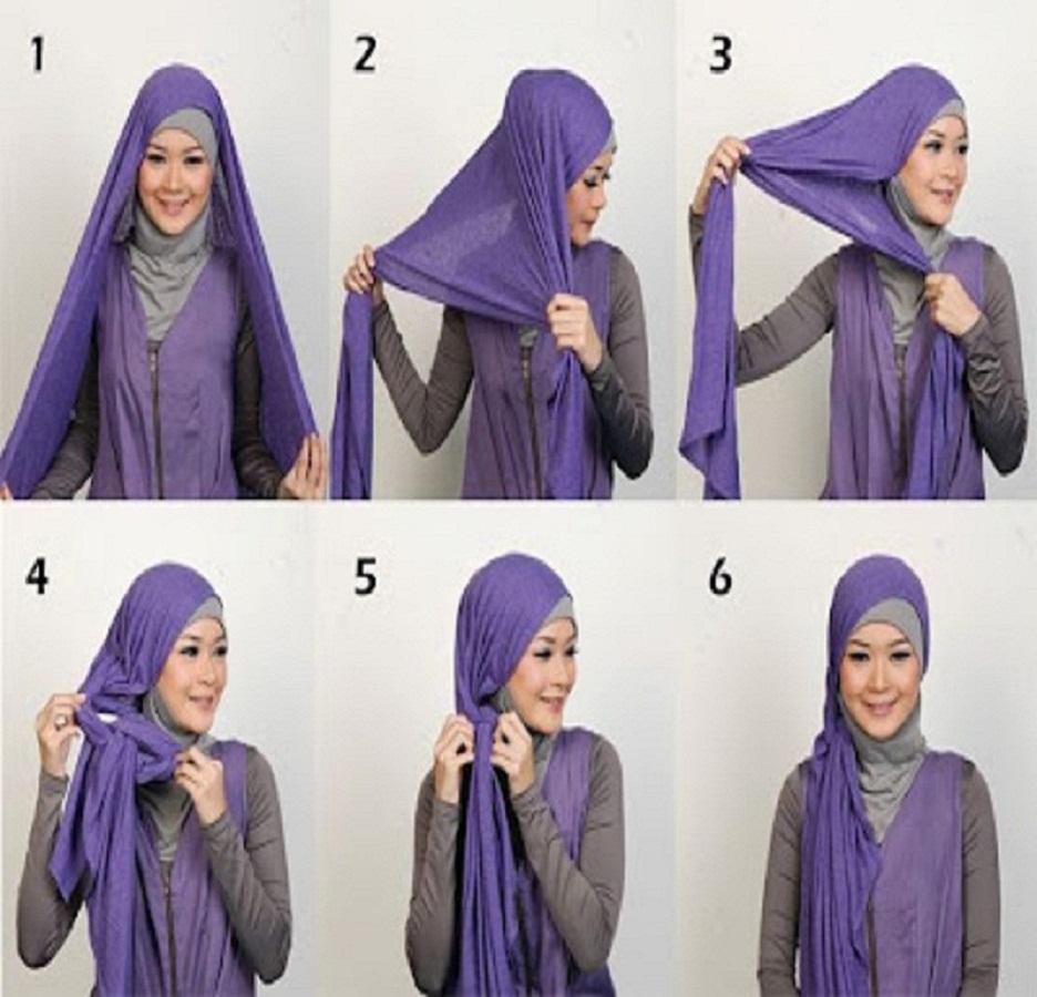 Tutorial dan gambar cara memakai jilbab hijab modern gaul pashmina pasmina kaos