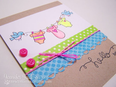 Hello baby clothesline card using Winged Wishes stamp set
