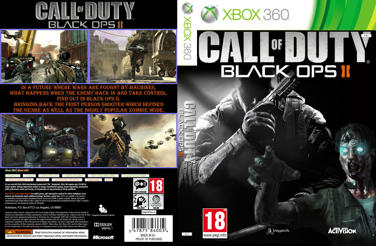 capa call of duty black ops 2 xbox 360 gamecover capas