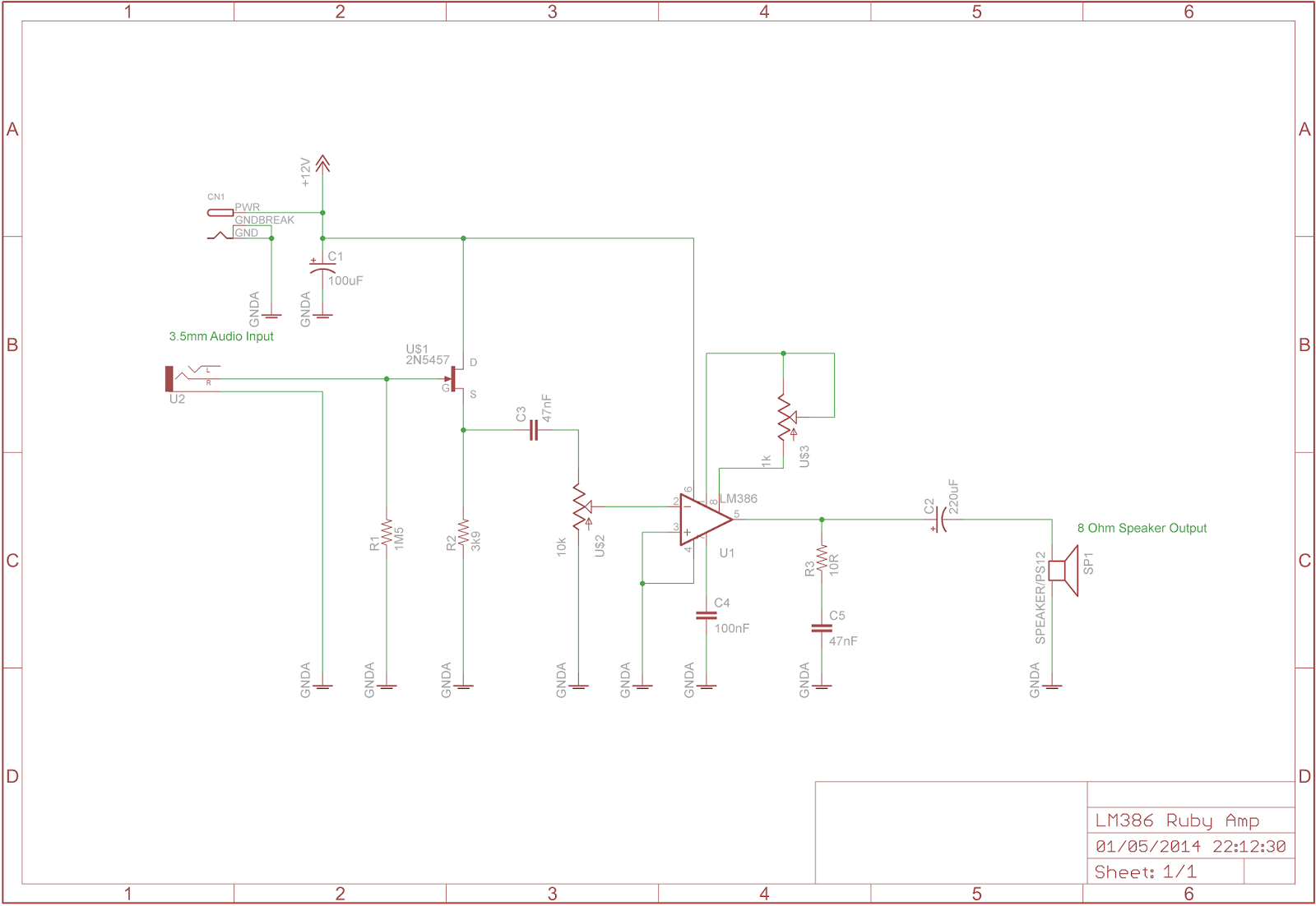 The Answer Is 42 Lm386 Ruby Amplifier Simple Small Audio Circuit Diagram Using Ic I Suppose Should Really Explain How This Circuits Worksthe Input Jack Shown On Left Side Of Takes An Signal From A Suitable