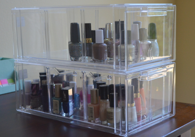 Nail polish Organization - acrylic athletic shoe box stacked