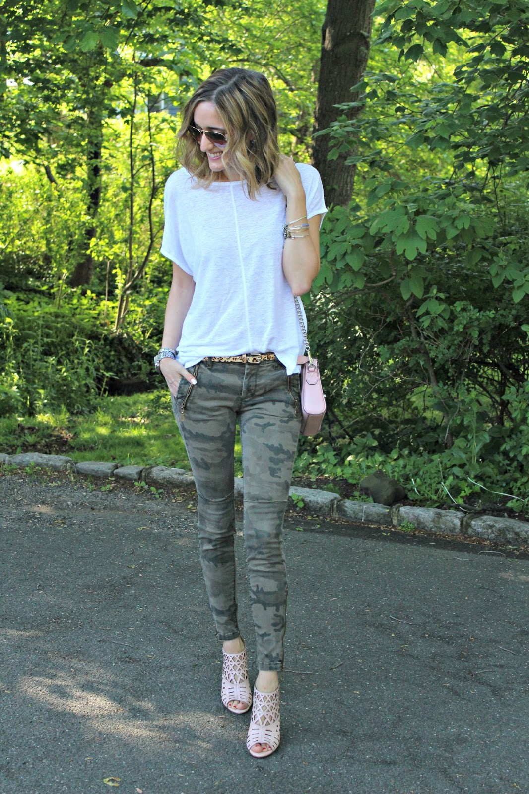 camo with blush & white