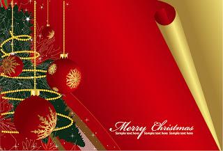 金色に捲れたクリスマス・カード roll angle of the christmas card vector イラスト素材1