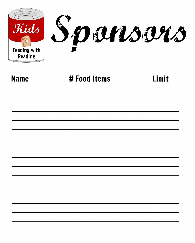 sponsor sheets – Printable Sponsor Forms