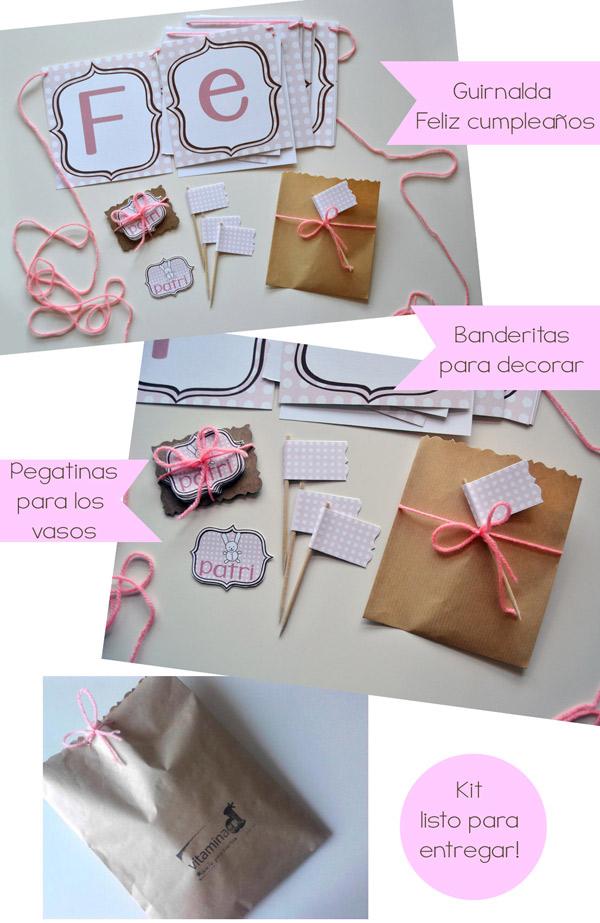 kit cumpleaños conejito rosa