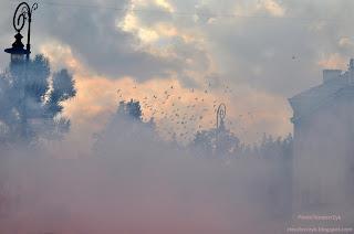 dym, niebo, chmury