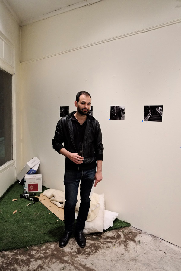 Artist Portrait,  Aaron Stathi with installation work, - Plump Gallery.