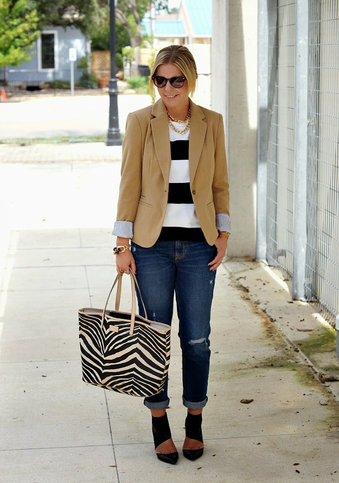 Tan Blazer Stripe Top Distressed Denim Black Ankle Boots