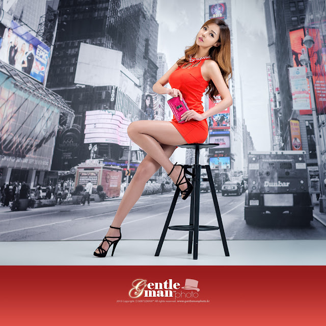 4 Seo Jin Ah in Orange Mini Dress -Very cute asian girl - girlcute4u.blogspot.com