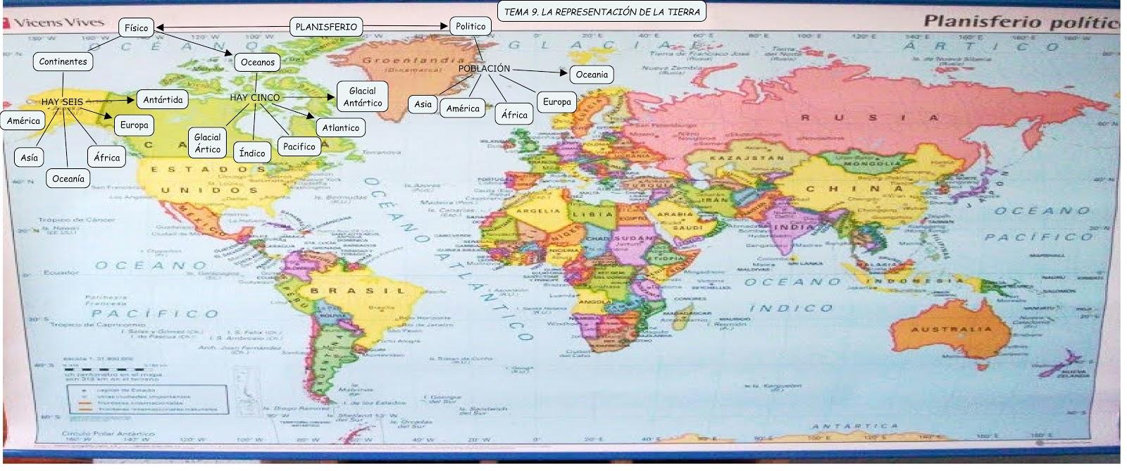 El mundo de Lucia Palacios: LOS PLANISFERIOS PLOTICOS Y FISICOS