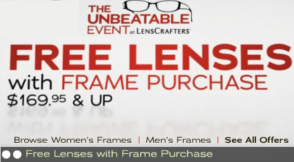 With our featured LensCrafters coupons and deals, you can now enjoy extra savings on your next purchase of prescription eyeglasses, contact lenses, and even sunglasses. LensCrafters makes it convenient to schedule an eye exam, making it the perfect option for any individual or family.