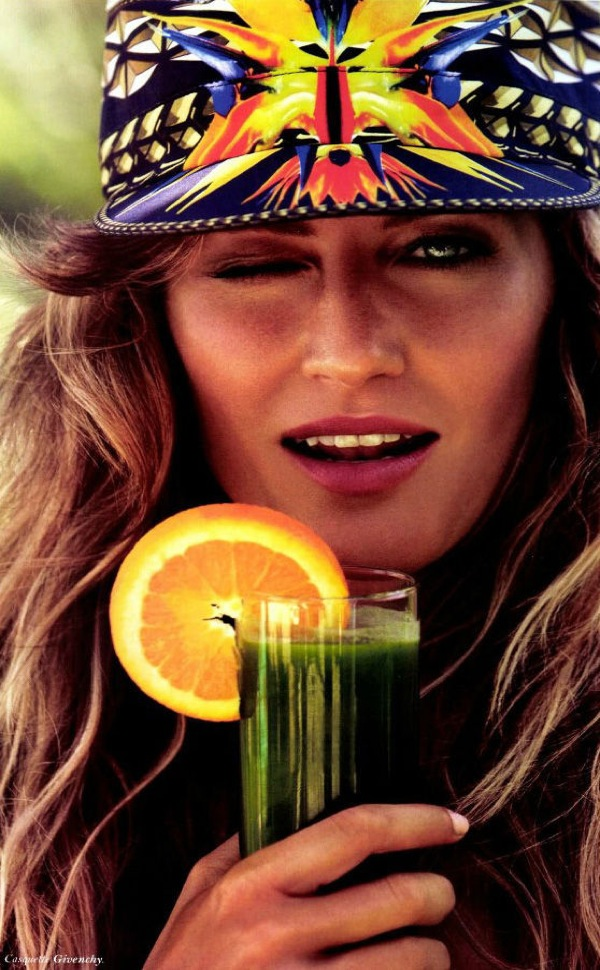 Gisele wink and drink Vogue Paris July 2012 - saved by Chic n Cheap Living