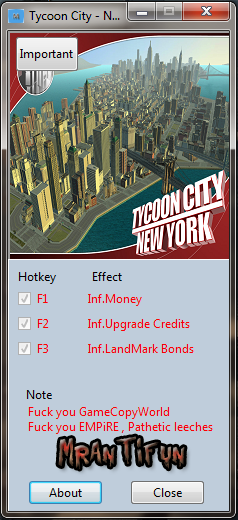 Tycoon City - New York V1.0.1.3 Trainer +3 MrAntiFun