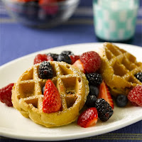 Oatmeal Pecan Waffles with Fruit Topping