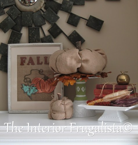 Tin Pumpkin Art on display with Fall decor