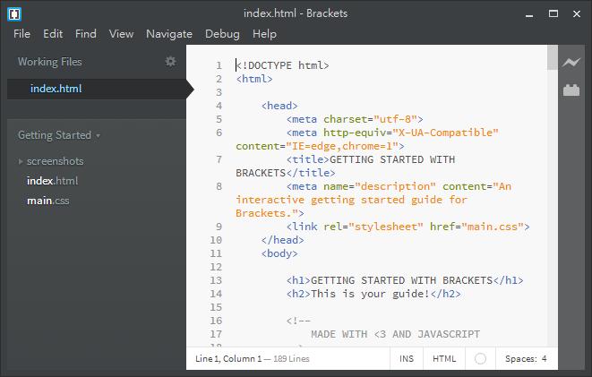 免費、好用的文字網頁編輯器推薦:Brackets Editor Portable 免安裝下載,CSS快速編輯、網頁即時預覽
