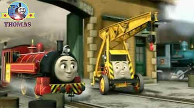 Sodor steamworks Thomas and friends Victor the train Kevin the crane happy to clean the lion statue