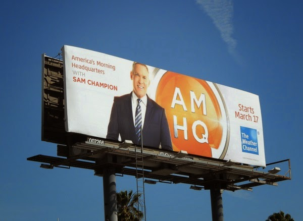 Sam Champion AM HQ launch billboard