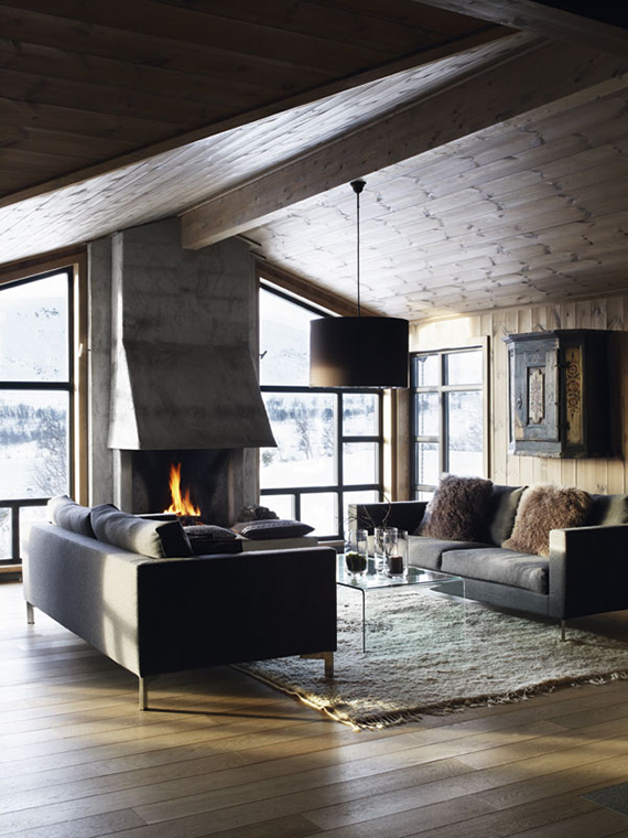 Norwegian cabin living room. Foto by Mona Gundersen